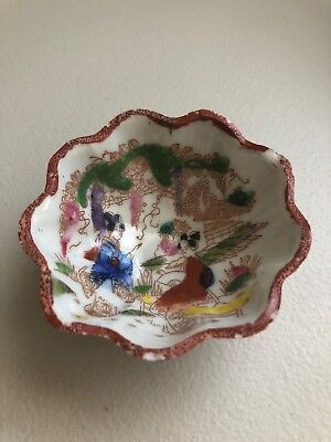 Antique Porcelain Japan Geisha Girl Tea Bag Bowl Hand Painted Footed Scalloped 3