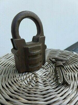 Antique Large Padlock With One Working Key Unique Made in Russia 27-01 7