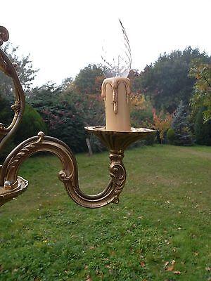 unusual vintage French 3 arm bronze cage Chandelier (BDM102) 4