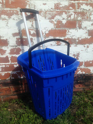 Value Plastic Shopping Trolley Basket (38L) Blue. On Wheels Castors. 3
