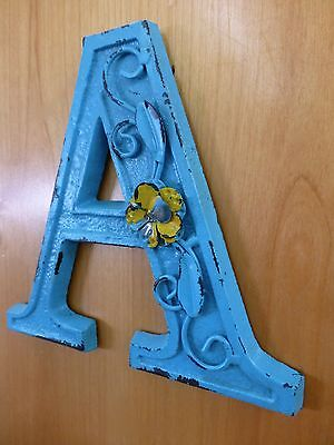 "BLUE CAST IRON WALL LETTER ""A"" 6.5"" TALL rustic vintage decor sign barn nursery"
