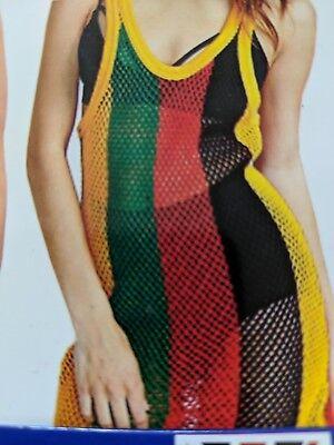 2ee0e64d8397c ... Ladies Multicoloured Rasta Side Slit String Mesh Maxi Dress Rihanna  Free Size 8
