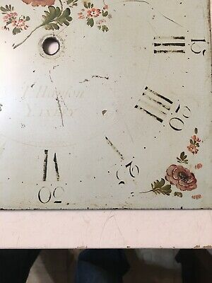 Antique Grandfather Clock Dial Painted Strawberries & Flowers Hanson Yaxley 11