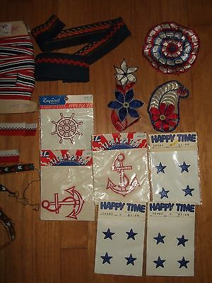 lot yds vintage nautical patriotic trim ribbon patches embroidered star anchor + 2