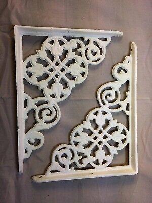 Set Of 2 Antique White Victorian Floral Cast Iron Braces Brackets 2