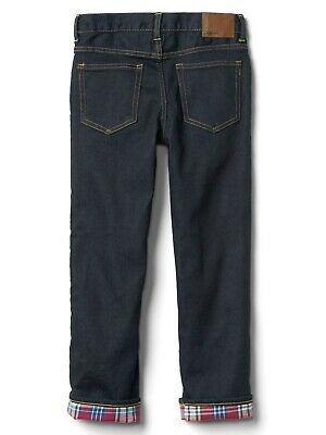 Boys` New GAP Flannel Lined Winter Jeans Ages 4 to 14 Kids Straight Leg 9