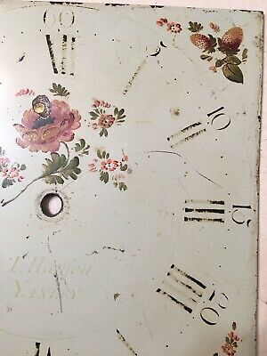 Antique Grandfather Clock Dial Painted Strawberries & Flowers Hanson Yaxley 10