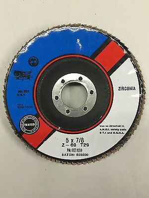 """QTY:1 T29 Premium Zirconia Flap Disc 5/"""" x 7//8/"""" 60 grit  MADE IN USA"""