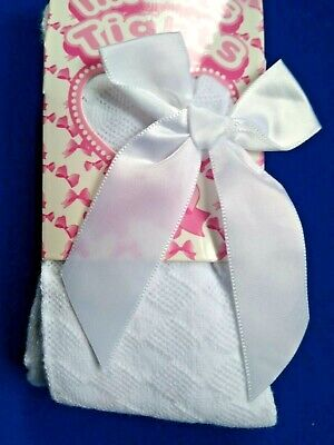 Girls Spanish Style Tights Diamond Bow Age 0 1 2 3 4 5 Years White Pink Rose NEW 9