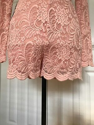 New Bebe Scallop Lace Deep V Romper Color Pink Size 6 10