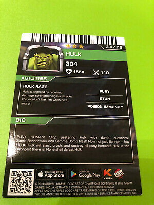 Marvel Contest of Champions #34 Hulk Card- RARE non-FOIL- Dave and Busters 2