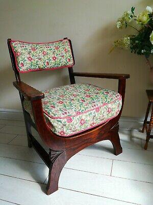 Rare Antique Arts & Crafts Oak Chair Liberty Style X frame bentwood Unique. 8