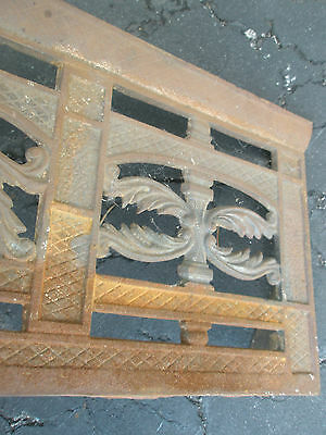 Antique Ornate Raised Relief Brass Gold Tone Metal Fireplace Surround Grate 8
