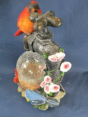 Red Bird on a Water Faucet w/ glass globe and LED light yard or patio decor 3