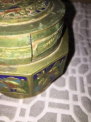 Antique Asian Brass Enameled Lidded Canister Jar 6