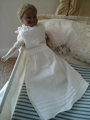 Rare Antique French Boudoir Mannequin Doll~Primitive Porcelain/Linen Textil 1800 10
