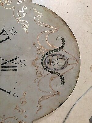 Beautiful Antique Painted Iron Grandfather Clock Dial C. 1800's Scroll Decor 3