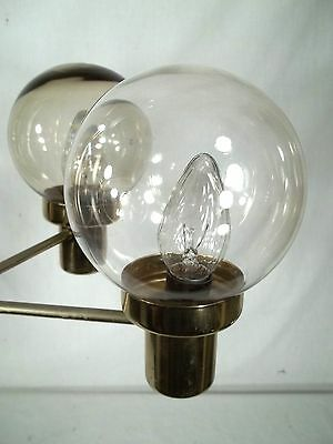 Mid Century Modern 5 Light Brass Chandelier With Tinted Glass Globes 7