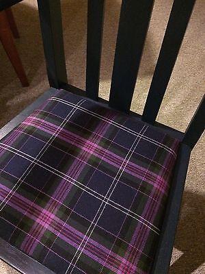 Painted Vintage Oak Carver with 100% Wool Tartan Seat - navy 3