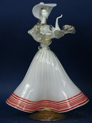 SCULPTURE opal glass gold woman lady MURANO VENICE ITALY DECO crystal 1900th XX 2