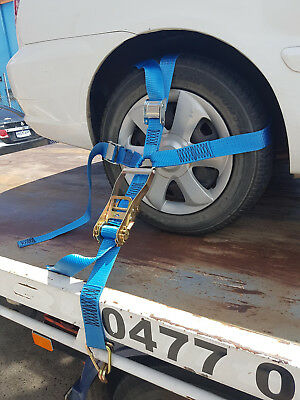 (2 Pack) Car Carrying Ratchet Tiedown, Trailer Tie Down, Car Wheel Harness 4