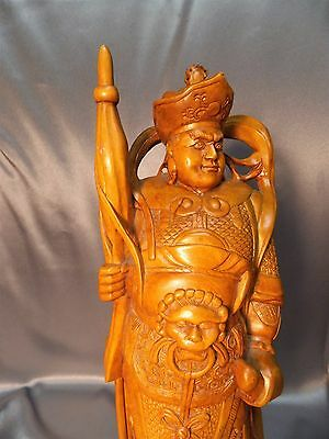 Very Fine Hardwood Detailed Old Chinese Carved Warrior Figurine Statue 10