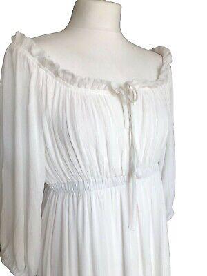 Off White Long Boho Peasant Jane Austen Regency Gypsy Maxi Wedding Pirate Dress 5