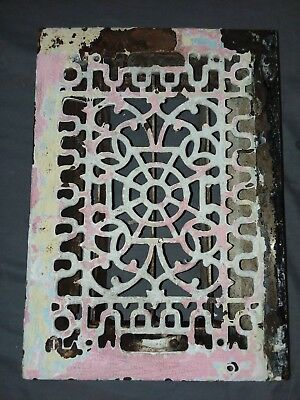 Antique Cast Iron Floor Wall Heat Grate 14x10 Louvres Victorian Design  100-18F 3