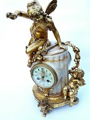 Antique French Onyx Marble Mantel Clock With Cherubs Gilt Bronze 8 Day 19Th C 4