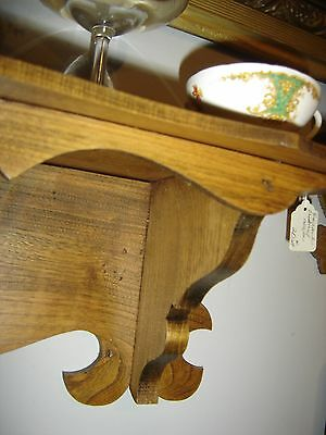 Antique Chestnut Clock Shelf with sawtooth design on the front. 8166 3