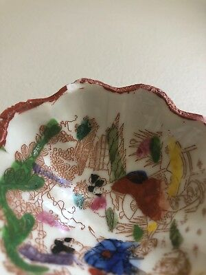 Antique Porcelain Japan Geisha Girl Tea Bag Bowl Hand Painted Footed Scalloped 6