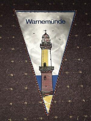 DDR Wimpel Motor Warnow Werft Warnemünde 1949 Leuchtturm Mega Wimpel 39 cm