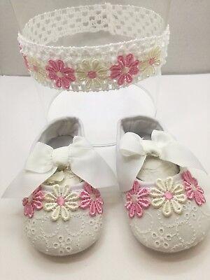 ... Scarpe neonata con fiorellini   Scarpette neonata N18 Fascia per  capelli neonata 3 0dfd7bbb056