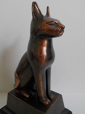 "19th - Antique / Vintage Egypt Egyptian Bronze Cat Figurine Statue 9"" 3"