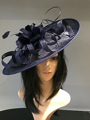 YELLOW AND NAVY WEDDING ASCOT DISC HATINATOR Mother Of The Bride Hat OCCASION 6
