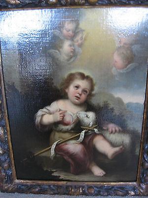Murillo, Bartolome, Studio Of.antique Oil Christ, Lamb, Angels 9