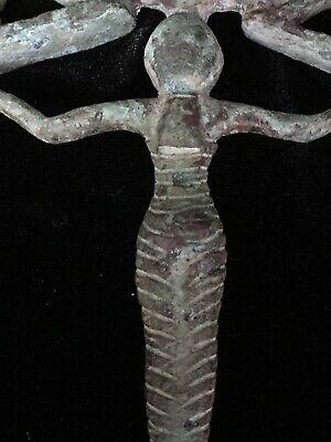 Egyptian Bronze Mirror w/ Caryatid Handle and Horus Falcons 4