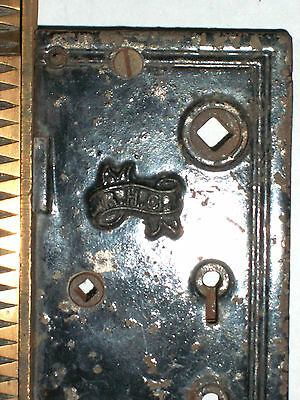 Antique Victorian Eastlake Entry Thumb Turn Door Lock BY    R.H.Co. 3