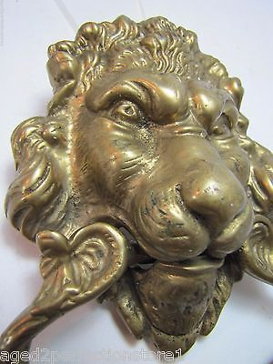 Old Brass Figural Lions Head Dauphin Koi Door Pull ornate architectural hardware 2