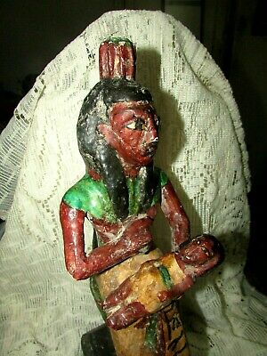"Rare Pharaonic Statue, Ancient Egyptian Wood Carvings & ‬‏Enamel. ""HOLD A TOT"" 4"