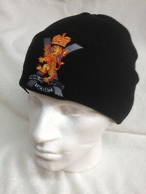 Royal Tank Regiment Beanie Colours Woolly Turn Up Hat