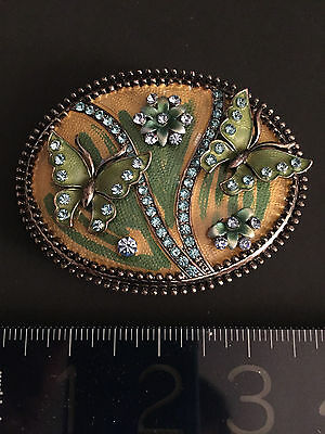 ANTIQUE style Austrian crystals+ ENAMEL BELT BUCKLE-with Butterflies/Flowers WOW 2