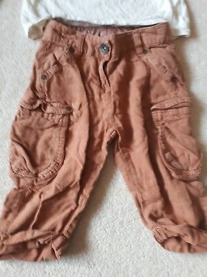 Girl's Age 5,  brown 3/4  length trousers by Next and a cream coloured top... 5
