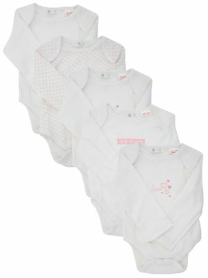 Ex Store 5 Pack of Baby Long Sleeved Bodysuits 5