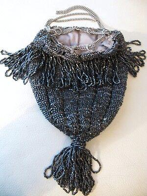 Vintage Antique Art Deco Crochet Silver Grey Bead Lined Chain Drawstring Flapper Purse Bags, Handbags & Cases