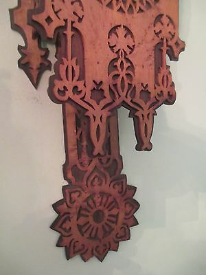 Antique GOTHIC wall clock BLACK FOREST - FRET WORK  bird's eye maple and exotic 4