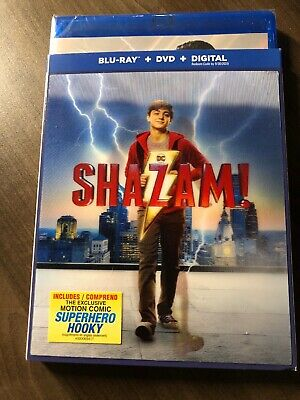 NEW DC Shazam 2019 Blu-Ray & DVD & Digital w Hologram Slipcover Canada Bilingual 2