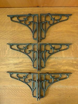 "6 LARGE BROWN ANTIQUE-STYLE 8"" SHELF BRACKETS CAST IRON rustic garden SCROLL 2"