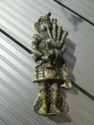 Old Solid Brass bag pipe player door knocker 2