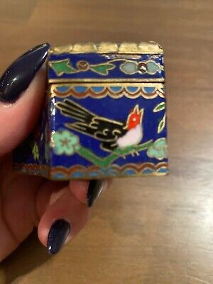 Chinese Cloisonne Pill Box With Hand Painted Stone Lid-2 1/2 Inches At Widest 4